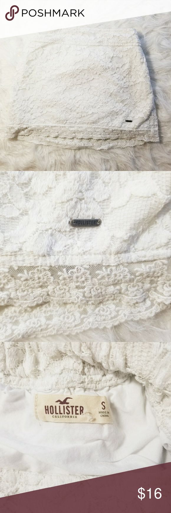 🎉3 for $15🎉 Hollister Off white Lace Mini Skirt Hollister White Lace Mini Skirt  -stretch waist -lining is 100% Cotton -shell is 68% Cotton 32% Nylon  -length laying flat 12 in. -waist laying flat 11.5 in.  -metal Hollister tag on right bottom corner  -size small -Gently Used Hollister Skirts Mini