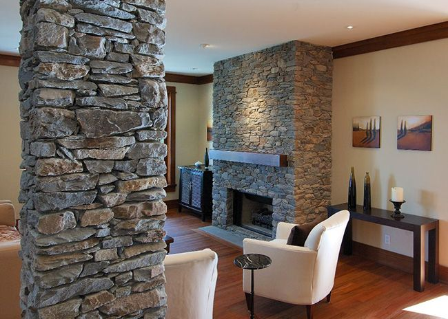 Mathers Interior Stone Columns At Living Room Houses