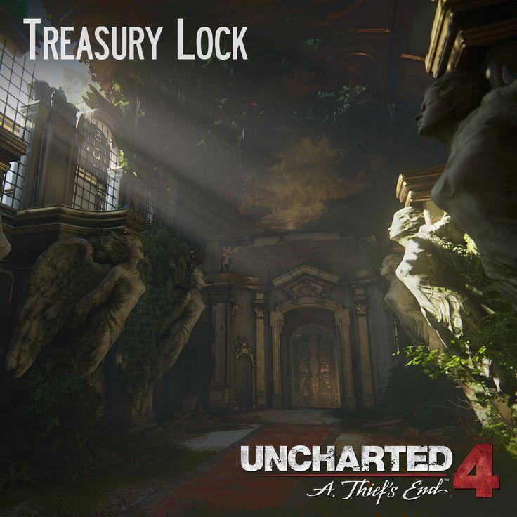 Uncharted 4 - Treasury Lock, Andres Rodriguez on ArtStation at https://www.artstation.com/artwork/bJkDa