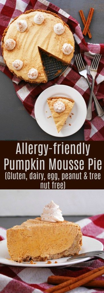 Allergy-friendly Pumpkin Mousse Pie (Gluten, dairy, egg, peanut & tree nut free; vegan) Thanksgiving dessert recipe by AllergyAwesomeness.com  |dairy-free pumpkin pie| |gluten-free pumpkin pie| |vegan pumpkin pie| |no-bake pumpkin pie| |pumpkin pie for food allergies|