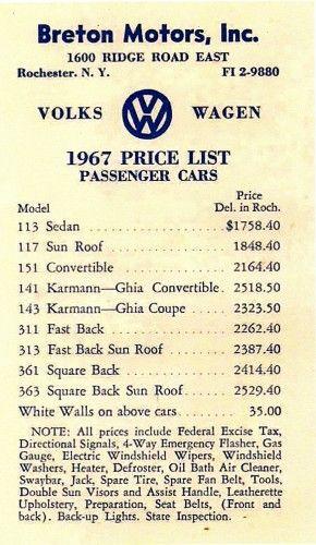 1967 Volkswagen Price List
