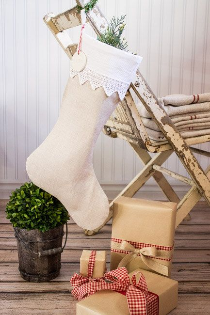 Christmas Stocking Linen with vintage white lace cuff by SuttonPlaceDesigns
