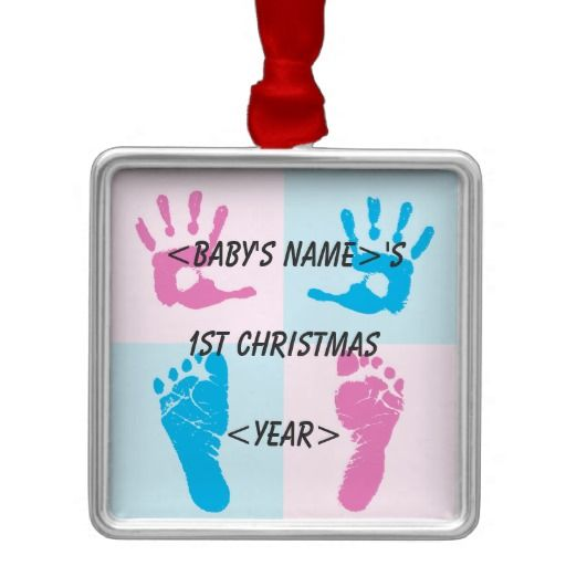 Hand and Foot Print Baby's 1st Christmas Silver-Colored Square Ornament