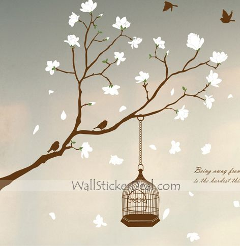 Fragrant Petals With Brids Wall Sticker