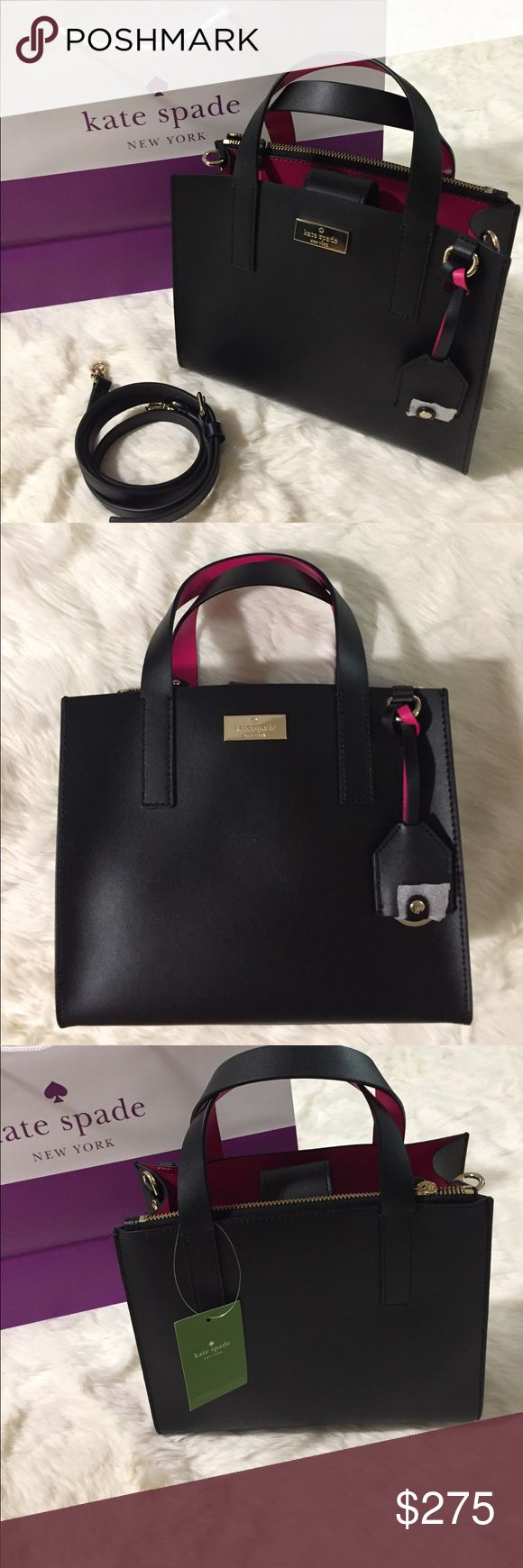 Kate Spade ♠️ Anissa Bag New!! Beautiful black purse with pink interior 💕💕 and a zipper pouch as part of the backside of the purse ^^ love the magnetic closure and comes with a strap to turn the bag into a crossbody 😘 kate spade Bags