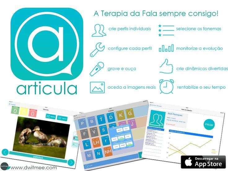 Criada por uma Terapeuta da Fala, a ARTICULA é uma aplicação para iPad que pode ser utilizada por adultos, crianças, pais, professores e cuidadores para promover e praticar a produção correta dos fonemas (sons) consonânticos do Português Europeu! Saiba mais em: https://itunes.apple.com/au/app/articula/id836181211?mt=8&ign-mpt=uo%3D2