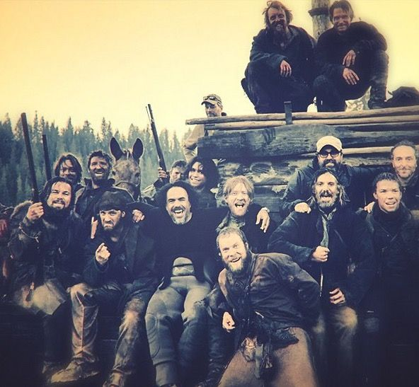 Tom Hardy with the rest of the cast on the set of The Revenant