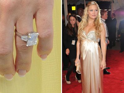 Kate Hudson's enormous rock has a platinum-set ring with an emerald-cut diamond and tapered baguettes on the side (estimated value $200,000).Engagement Ring