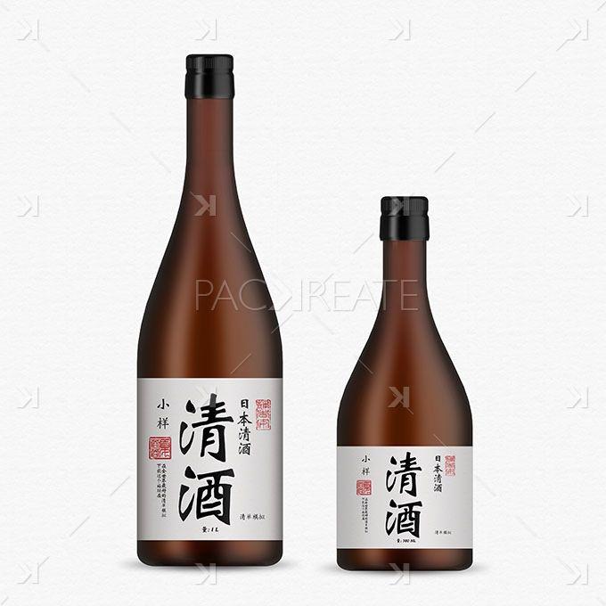 Sake Bottle Mockup – brown glass