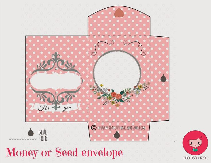 mad about pink  lovely money or seed envelope