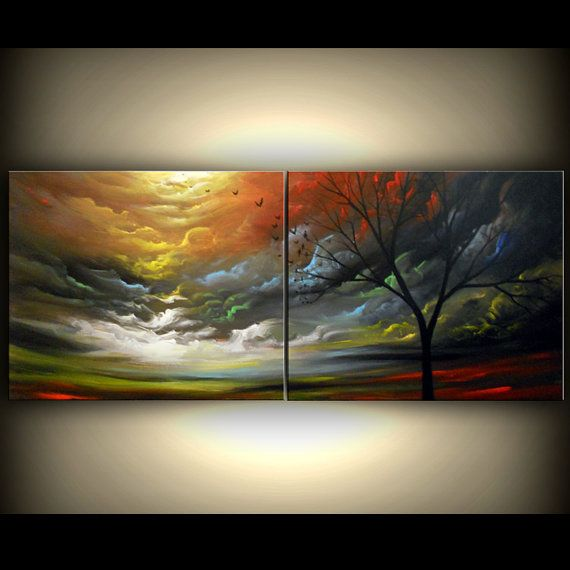 art original painting tree painting art abstract art original abstract painting art tree painting acrylic painting 56 x 22 via Etsy
