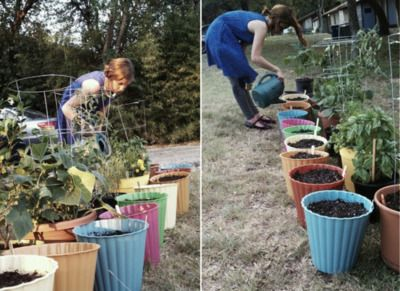 """trash cans from the dollar store as planters...can I get a big """"DUH""""!! Here I am trying to find planters on the cheap...don't get cheaper than that!"""