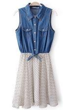 Blue White Sleeveless Polka Dot Denim Chiffon Dress $36.07