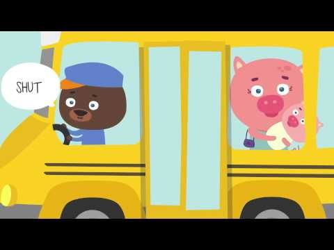 Wheels on the Bus music videos for kids. Helps teach parts of a bus (wheels, door, wipers, horn), and is a great action song to get kids up and moving!