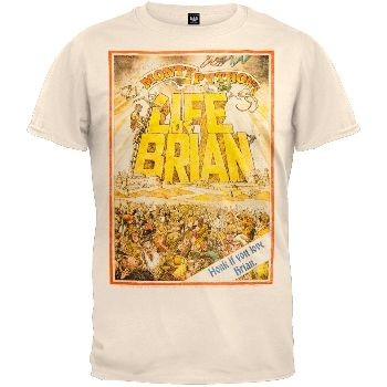"""You'll """"Always Look on the Bright Side of Life"""" in this off-white 100% cotton tee from Monty Python's """"Life of Brian."""" The lively print features a desert scene with a Jewish mob and poor Brian attempting to escape the insanity. A caption in the lower left corner reads: honk if you love Brian."""