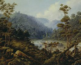 Charles Blomfield painting of Bush Mill at Whatipu Valley, 1881. Oil on canvas 1959, Auckland Art Gallery Toi O Tamaki.