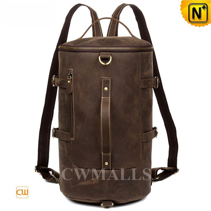 CWMALLS® Convertible Leather Duffle Backpack CW916008 Vintage leather duffel Backpack crafted from full grained calfskin leather in brown. CWMALLS convertible leather backpack featuring with buckle details leather strap at front and back, flat leather handle, comfort shoulder strap and backpack straps. www.cwmalls.com PayPal Available (Price: $287.89) Email:sales@cwmalls.com