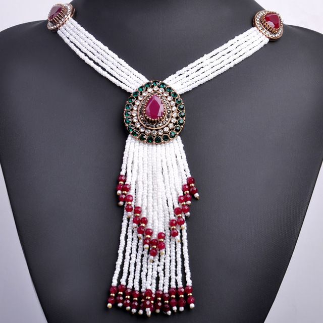 Deal Today $13.58, Buy Vintage Water Drop Shape Big Necklace Gold-Color African Beads Tassel Necklaces Turkish Jewelry Long Pendant Necklace For Women