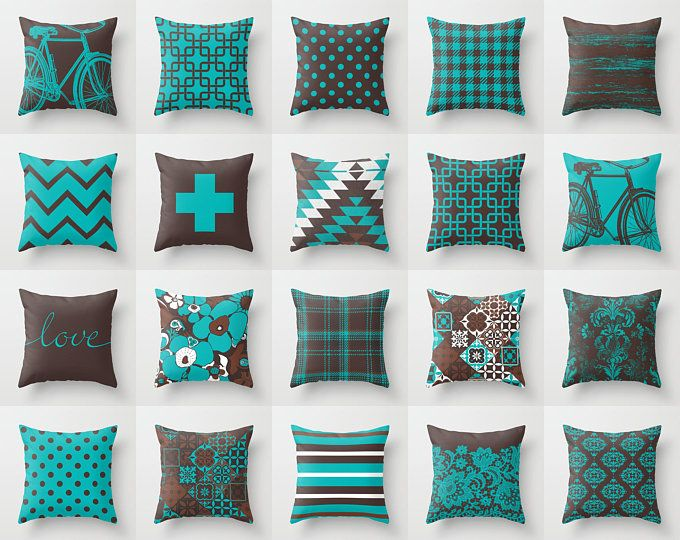 Teal Turquoise Blue Rust Brown Throw Pillow Mix And Match Indoor Outdoor Cushion Cover Accent Couch Toss Chocolate Burnt Orange Tiffany Aqua In 2021 Brown Living Room Decor Brown Throw Pillows Turquoise throw pillows for couch