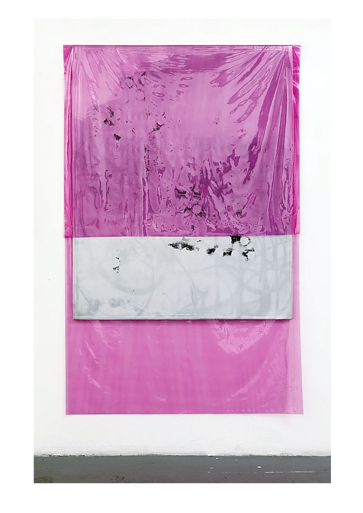 Michaela Zimmer 150404 2015 Acrylic, lacquer, spray paint, and PE film on canvas 200 x 130 cm