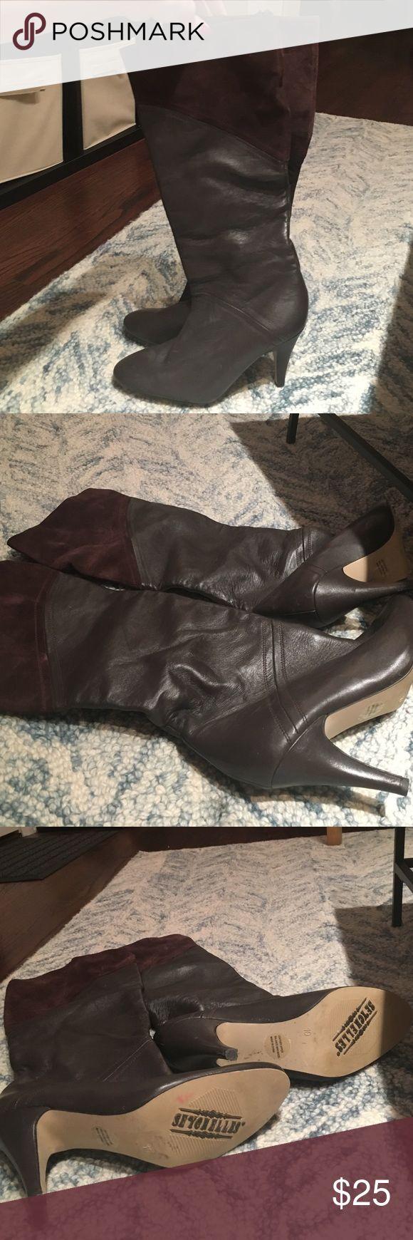 Seychelles Brown Heeled Boots Dark brown leather and suede heeled boots from Seychelles. Minimal wear. Seychelles Shoes Heeled Boots