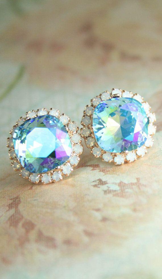 Aqua glacier blue white opal square crystal stud halo earrings | square crystal earrings | swarovski earrings | aqua wedding | www.endorajewellery.etsy.com