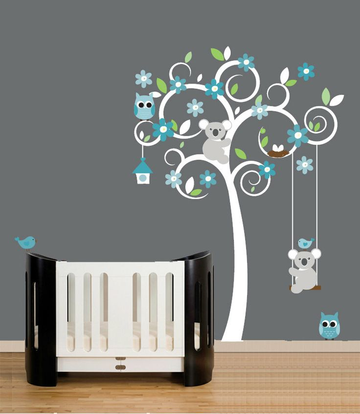 Nursery Wall Decals White Swirl Tree Decal Turquoise Teal Grey 109 00