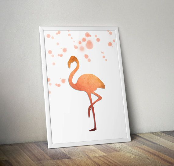 Flamingo in rose gold hues on white background- decorative digital printable wall art - ready to frame  This is a digital file that you can download
