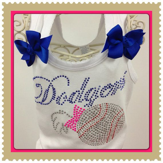Dodgers Baseball / Dodgers Girl / Rhinestone Dodgers Shirt / Toddler Girls Dodger Tank Top / Rhinestone Dodgers By Aldabella Scarpa