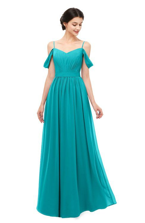 b969ebfb1d0 ColsBM Elwyn Teal Bridesmaid Dresses Floor Length Pleated V-neck Romantic Backless  A-line