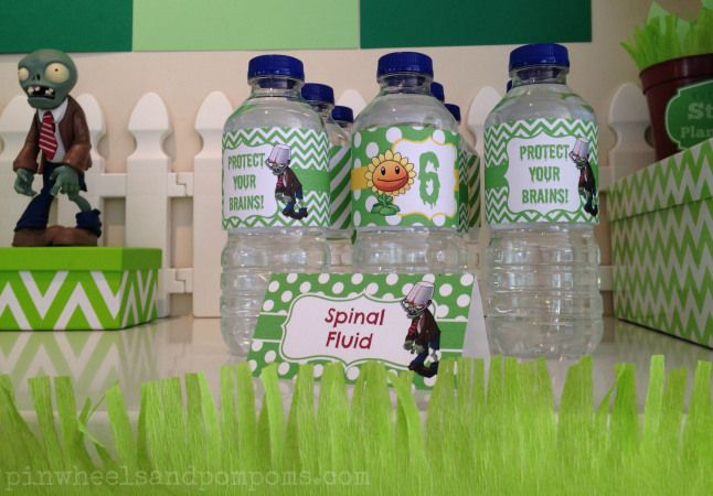 """Water bottles with themed labels at a Plants vs Zombies party. Plus a themed sign """"Spinal Fluid"""" - got to gross the kids out as much as you can!! ; )"""