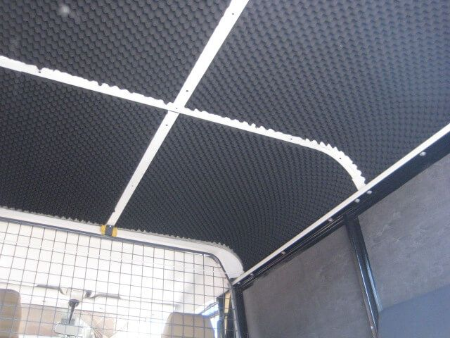 Land Rover roof section soundproofing material. Our kits can dramatically reduce noise, vibrations and also airborne noise created by the engine and from the vehicle.
