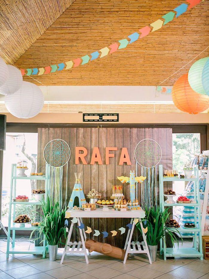 Head Table Display from a Camp Rafa - Pow Wow 1st Birthday Party via Kara's Party Ideas | KarasPartyIdeas.com (6)