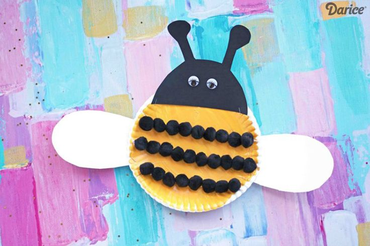 Pom Pom and Paper Plate Kid's Bee Craft