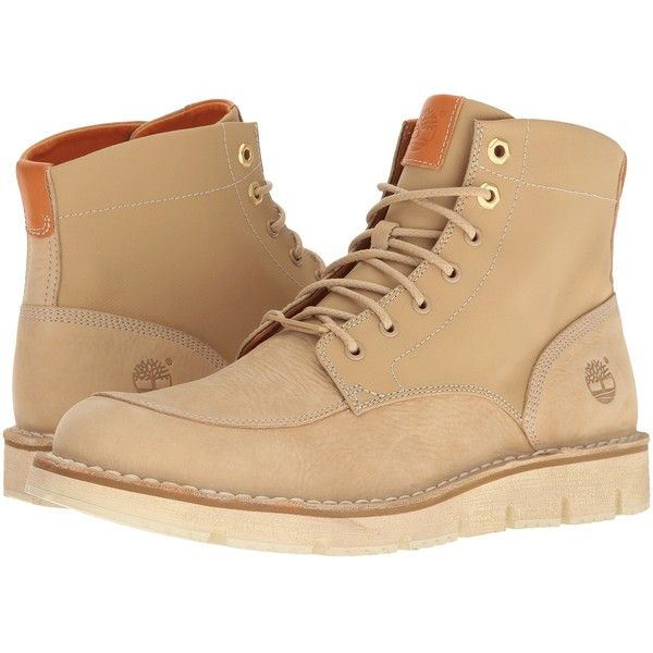 Timberland Westmore Leather Fabric Boot (Light Beige Nubuck/Canvas)... ($88) ❤ liked on Polyvore featuring men's fashion, men's shoes, men's boots, tan, mens rugged leather boots, mens leather shoes, timberland mens boots, timberland mens shoes and mens lace up boots