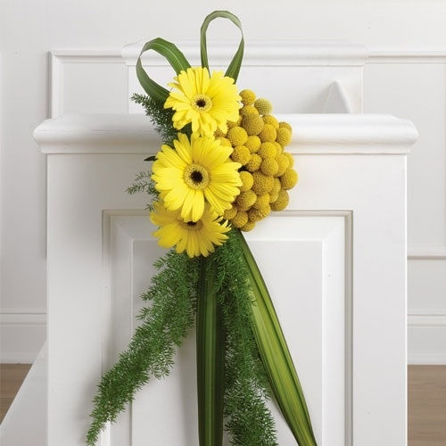 Yellow wedding flowers - Pew Ends