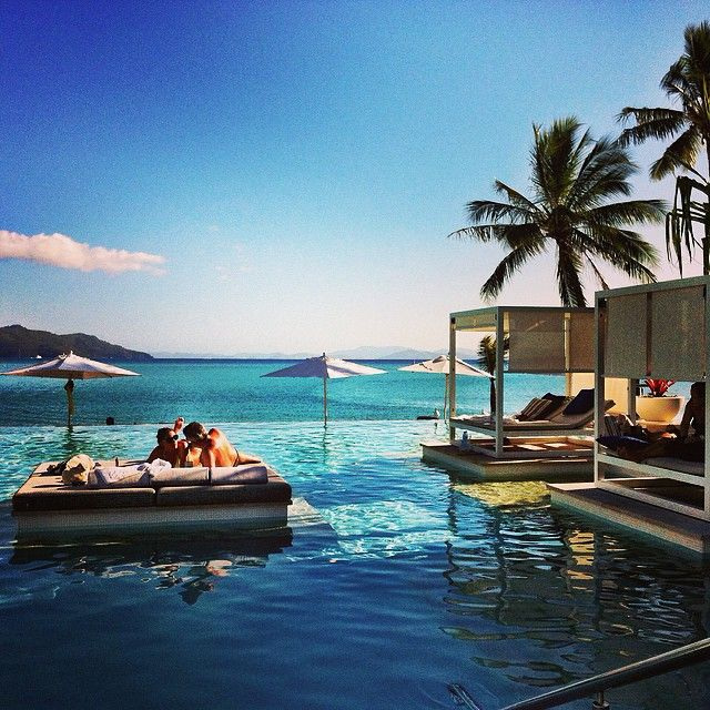 Who doesn't want to lounge on the day beds at One and Only Hayman Island, The Whitsundays Instagram photo by @angelasaurine  #thisisqueensland