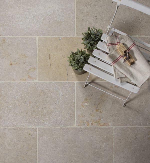Classic Dijon Limestone in a tumbled finish. Classic limestone.