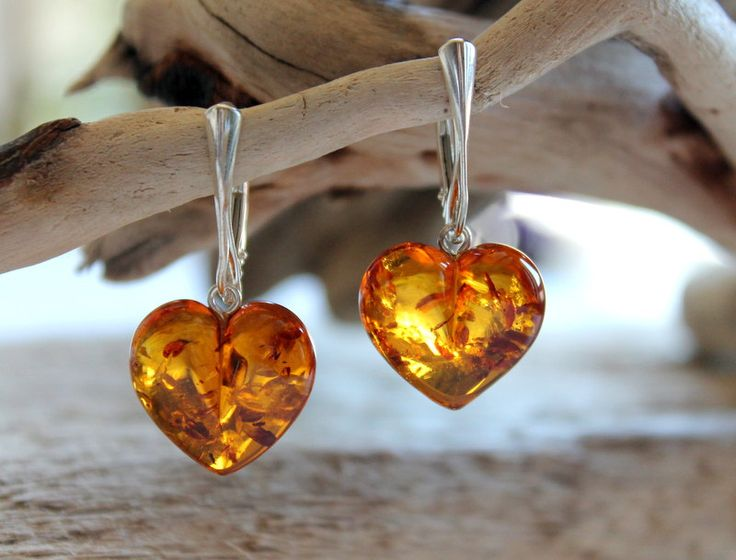 Baltic amber earrings with sterling silver clasp, Amber jewelry, jewelry for ladies, dangle earrings, heart shape earrings, love earrings by AmberDesign8 on Etsy