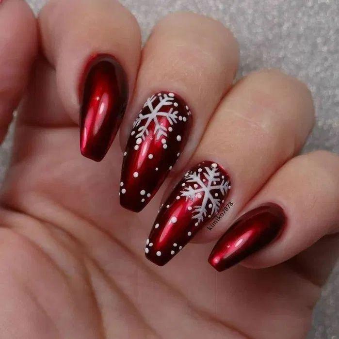 Coffin Nails Christmas Nails In 2020 Snowflake Nail Art Christmas Nail Art Designs Festival Nails