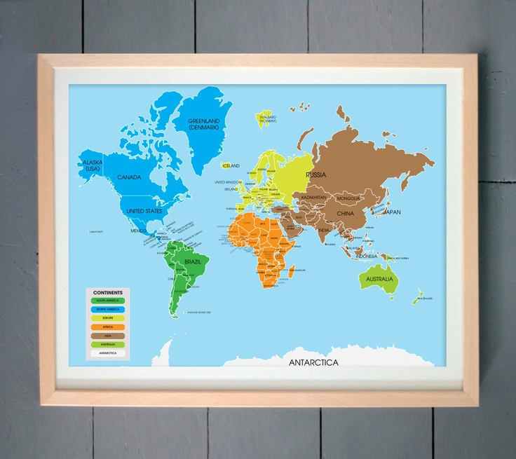 Mejores 40 imgenes de ikea shopping list en pinterest bao ikea world map art print world map divided into continents 16x20 inches 41 x gumiabroncs Choice Image
