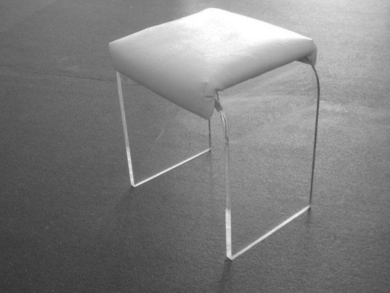 Fantastic Karl Springer Style Thick Lucite Waterfall Vanity Stool Dailytribune Chair Design For Home Dailytribuneorg