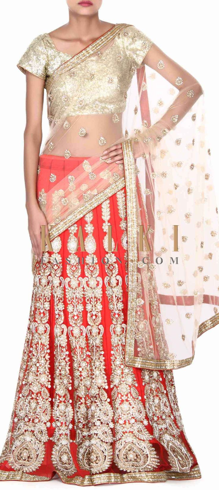 Buy this Red and beige lehegna saree in zari embroidery only on Kalki