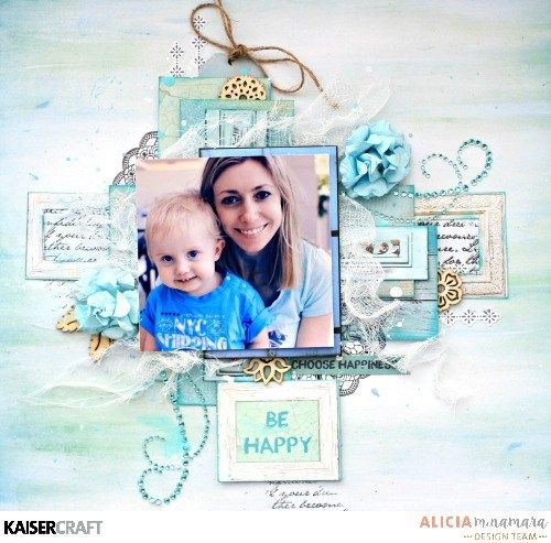 'Be Happy' layout & process video by Alicia McNamara Design Team member for Kaisercraft using their 'Ubud Dreams' collection (January 2017)  saved from kaisercraft.com.au/blog - Wendy Schultz - Scrapbook Layouts.