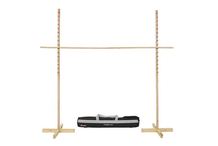This wooden limbo set is ideal for getting everyone involved, it is the ultimate party game and will liven up any atmosphere.The aim of a limbo game is to get under the bar without letting any part of your body other than your feet touch the ground. Perfect for testing the balance of both children and adults on a level playing field. Dimensions: <ul> <li>Maximum width - 82cm</li> <li>16 height options</li> <li>Highest - 150cm</li> <li>Lowest - 30 cm</li> <li>Weight - 5kg</li> </ul>The limbo…