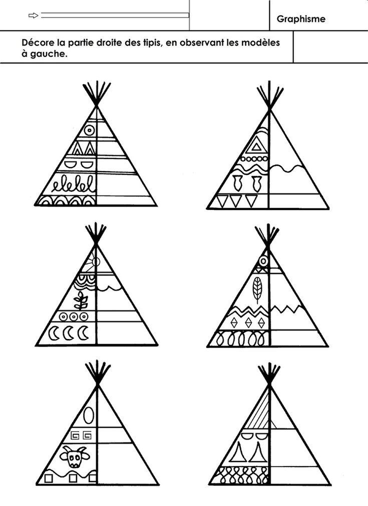 Les Indiens d'Amérique, graphisme - école maternelle Gellow