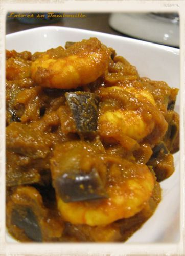 Curry d'aubergine & de crevettes à l'indienne | Recette en ...