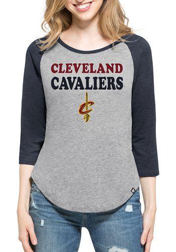 '47 Cleveland Cavaliers Womens Grey Club Raglan Long Sleeve Crew T-Shirt - 4809062