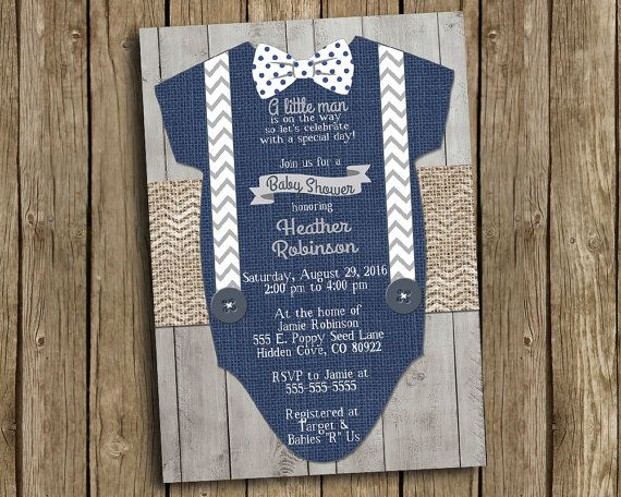 Boy Baby Shower Invitation Navy Blue Gray Bow Tie Suspender Burlap Chevron Polkadot Wood Shabby Rustic Printable Digital I Customize For You