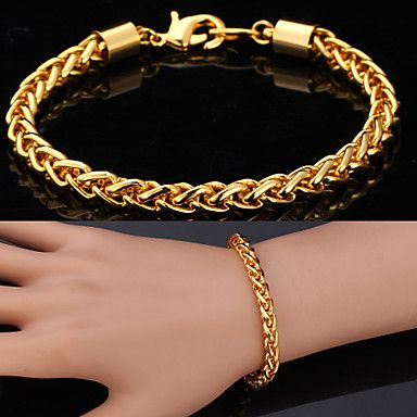 u7® oro 18k de la alta calidad incorrectamente completado retorció singapur pulsera de cadena enlace para hombres mujeres 7mm 21cm 2016 – €7.99